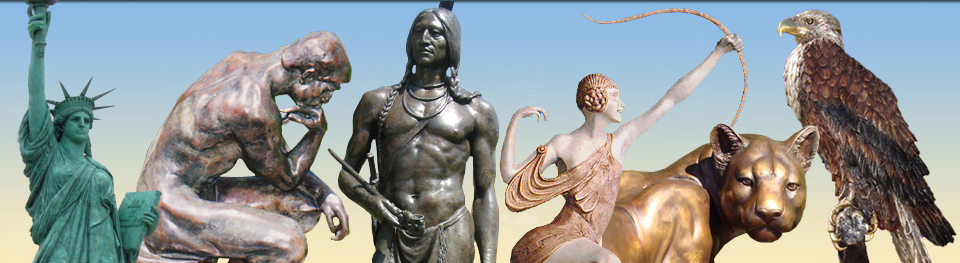 Bronze statues and sculptures: mountain lion, native american, beautiful woman, black beauty