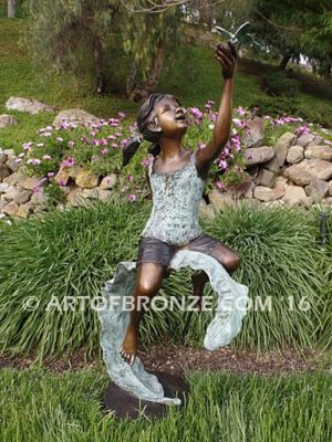 Enchanted Butterfly bronze sculpture of girl with butterfly