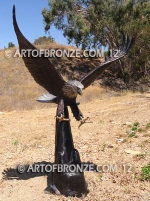 American Spirit school mascot monument of bronze eagle landing