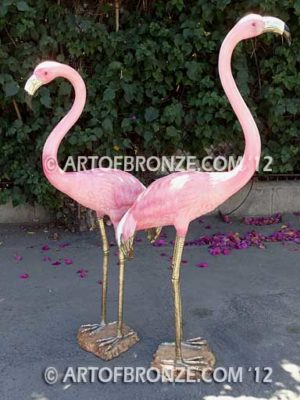 Tickled Pink lost wax casting of standing crane fountain for pool, pond or home