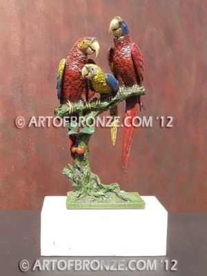 Scarlet Macaws indoor décor macaw family on branch and marble base