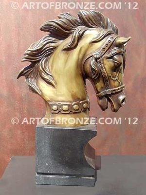 Prestige sculpture bust of thoroughbred horse for home or office display
