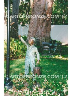 Special Lil Helper bronze sculpture of standing boy with paint can and roller brush