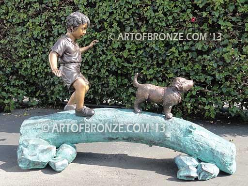 Adventurous Pals Bronze Statue of Boy walking dog