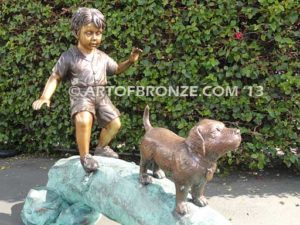 Adventurous Pals Closeup Bronze Statue of Boy walking dog