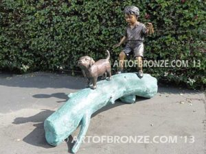 Adventurous Pals Other side Bronze Statue of Boy walking dog