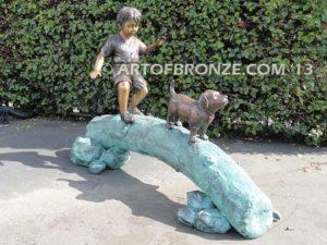 Adventurous Pals Sideview Bronze Statue of Boy walking dog