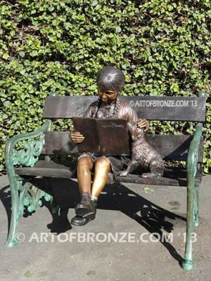 Love and Affection sculpture of young reader girl with dog and book
