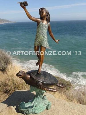 A Treasured Day Bronze Statue of Girl Holding Shell