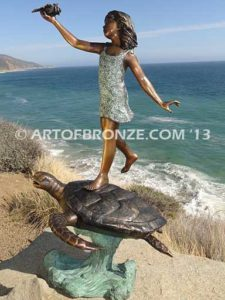 A Treasured Day Sideview Bronze Statue of Girl Holding Shell