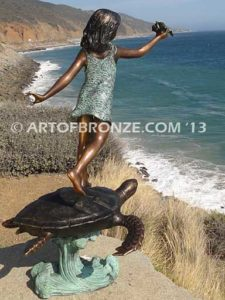 A Treasured Day Backview B Bronze Statue of Girl Holding Shell