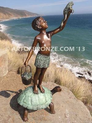 A Day to Remember Bronze Statue of Boy with Frog