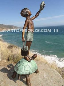 A Day to Rememberg Sideview Bronze Statue Boy Holding Frog Fountain