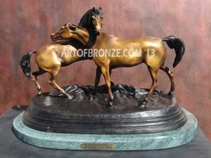 L'Accolade sculpture of standing stallion and Arabian mare from French animalier artist P.J. Mene.