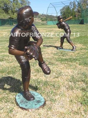 Championship Game bronze sculpture of two baseball players hitting and pitching