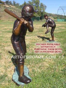 Home Run bronze sculpture of boy playing baseball hitting ball