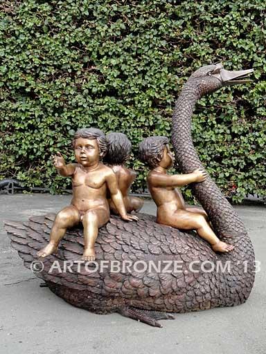 Cherubs on Goose bronze sculpture