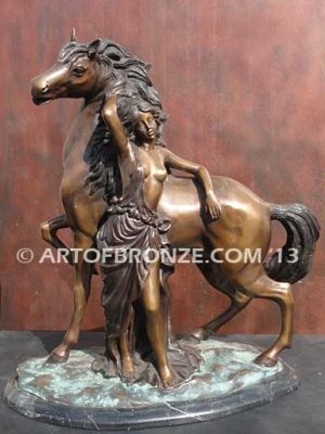 Sensual Hearts European classical design statue of nude woman and rearing horse