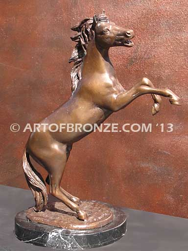 Wild at Heart sculpture gift or award of reared horse attached to a marble base