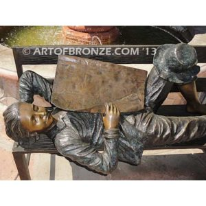 A Wonderful Day Closeup Bronze Statue Boy napping on bench