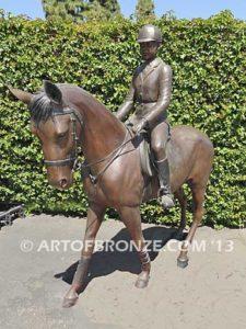 Future Champions show jumper bronze horse and rider equestrian statue