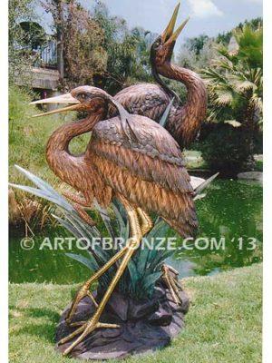 Marsh Royalty statue of outdoor herons