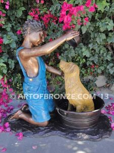 Bath Time other side bronze statue of boy washing his dog