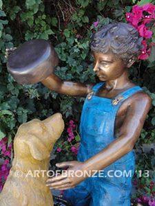Bath Time closeup bronze statue of boy washing his dog