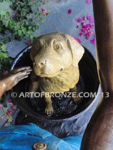Bath Time closeup B bronze statue of boy washing his dog