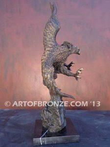 Bronze sculpture of bald eagle on custom marble base