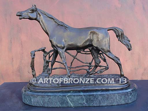 Cheval a la Barrier sculpture of standing stallion calling to his mare after French Animalier artist Pierre-Jules Mene
