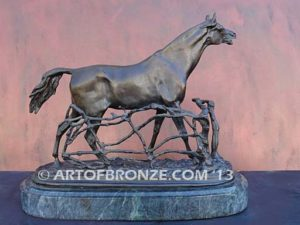 Cheval a la Barrier sculpture of standing stallion calling to his mare for indoor home