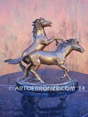 Air & Escape sculpture of playing mustang horses attached to base for home or office