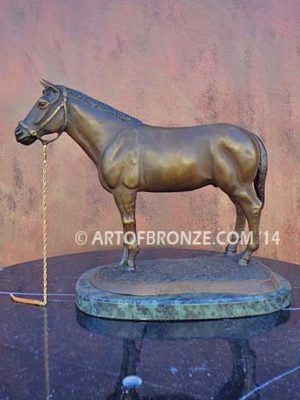 Show Time sculpture of standing horse attached to marble base for indoor home or office display