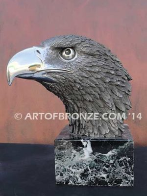 Stainless steel sculpture of eagle bust for indoor home or office corporate gift