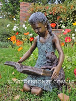 Shared Memories bronze sculpture of girl playing with her cat
