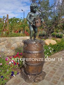 Harvest Time Other Side cherub boy standing on wine barrel with bucket and grapes