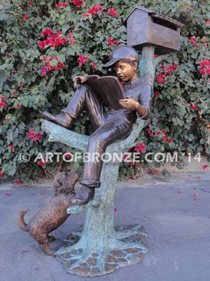 Waiting Patiently bronze sculpture mailbox of boy reading book with his dog
