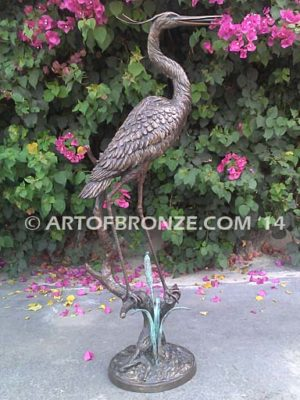 Still Life lost wax casting of standing crane fountain for pool, pond or home