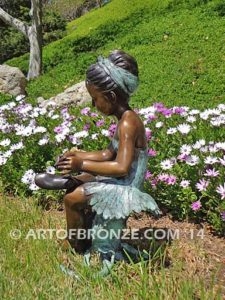 Blooming Youth other side bronze sculpture of young ballerina sitting tying her slipper