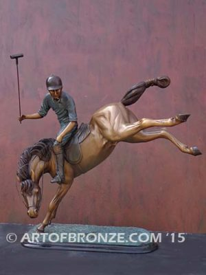 Change of Direction sculpture of polo player riding his leaping polo pony atop for indoor home or office