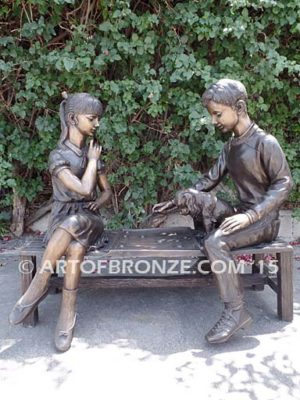 Age Ole Game Bronze Statue of boy and girl on bench playing checkers
