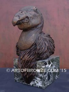 California Condor limited-edition lost wax bronze sculpture of condor bust