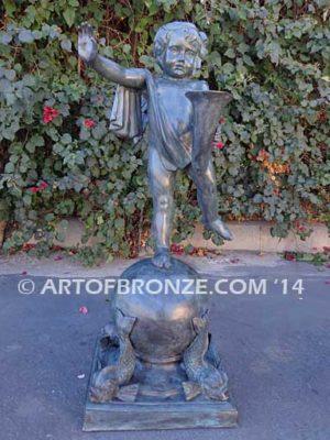 Cornucopia Boy bronze sculpture cherub holding cornucopia