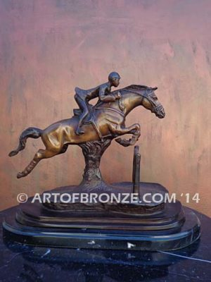 Hunt Seat sculpture of hunter class, jumper class gift award attached to marble base