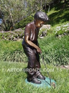 All Lined Up other side Bronze statue of boy putting golf ball