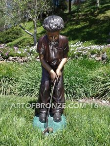 All Lined Up front view Bronze statue of boy putting golf ball