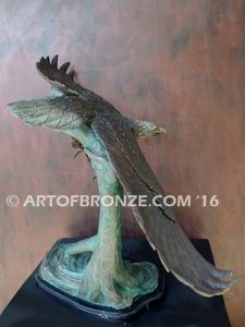 Airspeed bronze sculpture of flying eagle on custom marble base