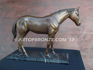 Before the Gate sculpture of standing race horse attached to base for indoor home or office