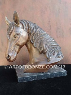 Darcy sculpture bust of thoroughbred horse for home or office